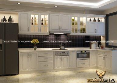 Mẫu tủ bếp gỗ tự nhiên sơn trắng 06