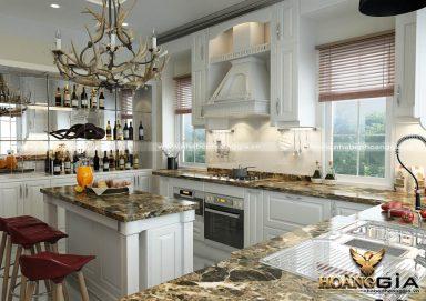 Mẫu tủ bếp gỗ tự nhiên sơn trắng 07