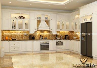 Mẫu tủ bếp gỗ tự nhiên sơn trắng 04