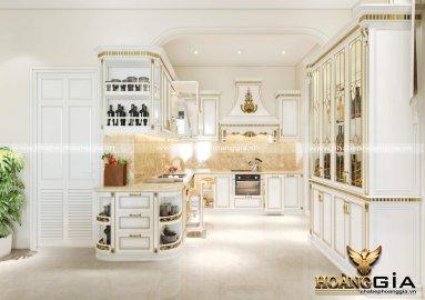 Dự án thiết kế tủ bếp tân cổ điển dát vàng nhà anh Khánh Vinhome riverside