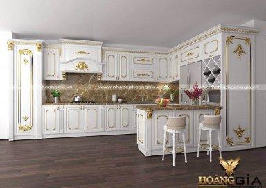 Mẫu tủ bếp dát vàng TBDT02