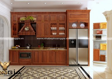 Mẫu tủ bếp đẹp gỗ gõ đỏ cho không gian nhà chật