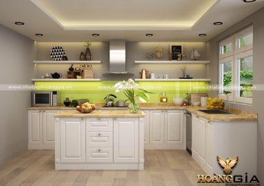 Mẫu tủ bếp gỗ tự nhiên sơn trắng 14
