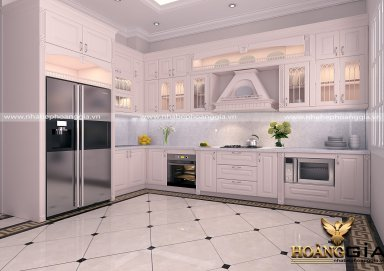 Mẫu tủ bếp gỗ tự nhiên sơn trắng 15