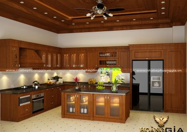 Mẫu tủ bếp gỗ sồi tự nhiên 25