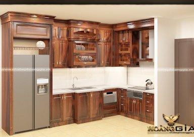 Mẫu tủ bếp chất liệu gỗ cẩm sơn PU cao cấp