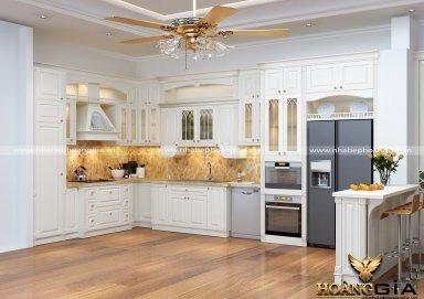 Mẫu tủ bếp gỗ tự nhiên sơn trắng 09