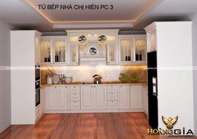 Mẫu tủ bếp gỗ tự nhiên sơn trắng 10