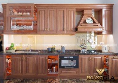 Mẫu tủ bếp đẹp gỗ gõ 05