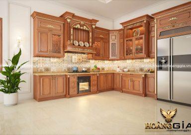 Mẫu tủ bếp đẹp có bàn đảo gỗ gõ tự nhiên cho nhà biệt thự