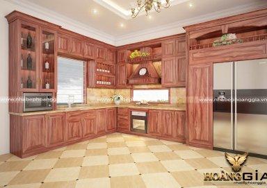 Mẫu tủ bếp gỗ cẩm 04