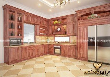 Mẫu tủ bếp cao cấp với chất liệu gỗ cẩm 04