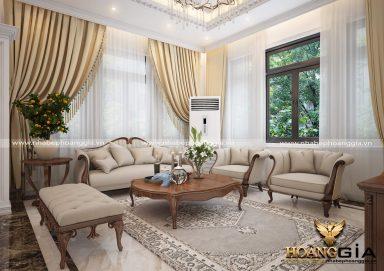 Mẫu thiết kế phòng khách tân cổ điển đơn giản cho biệt thự PKBT05