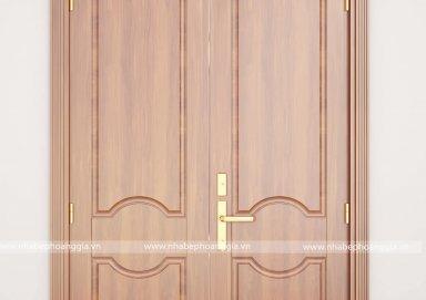 Mẫu cửa chính đẹp làm bằng gỗ gõ đỏ