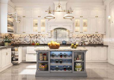 Mẫu tủ bếp tân cổ gỗ tự nhiên sơn trắng 02