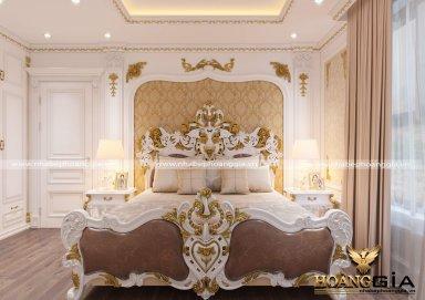 Mẫu thiết kế phòng ngủ phong cách tân cổ điển dát vàng