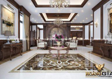 Mẫu nội thất phòng khách gỗ tự nhiên biệt thự PKBT06