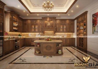 Mẫu tủ bếp gỗ gõ tự nhiên 17