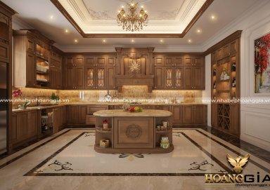Mẫu tủ bếp tân cổ điển gỗ gõ tự nhiên 17