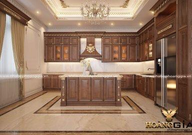 Mẫu tủ bếp dát vàng TBDT01