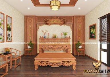 Cách trang trí phòng thờ thật trang nghiêm bằng gỗ gõ đỏ