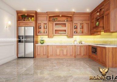 Mẫu tủ bếp gỗ gõ 03