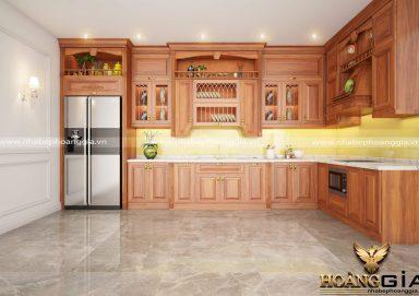 Mẫu tủ bếp đẹp gỗ gõ 03
