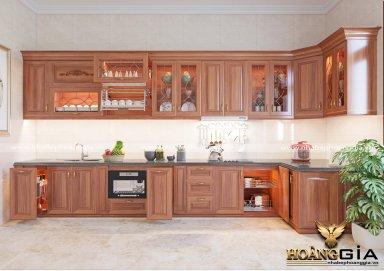Mẫu tủ bếp đẹp gỗ gõ 06
