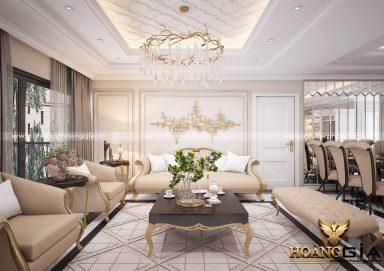 Mẫu thiết kế phòng khách tân cổ điển gam màu be cho biệt thự PKBT04