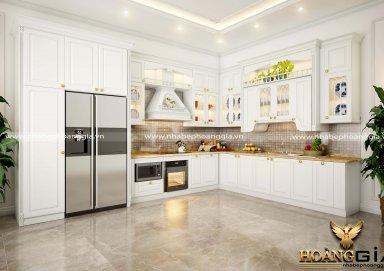 Mẫu tủ bếp gỗ tự nhiên sơn trắng 18