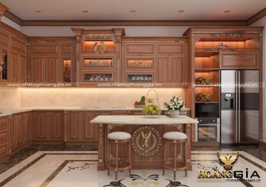Sang trọng đầy đẳng cấp với mẫu tủ bếp phong cách tân cổ điển