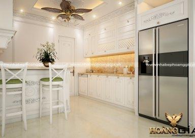 Mẫu tủ bếp gỗ tự nhiên sơn trắng 17