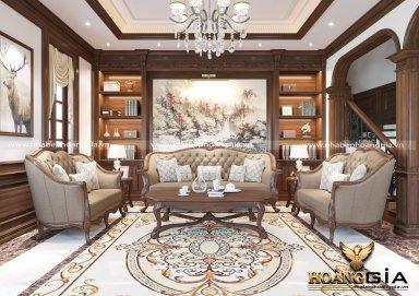 Thiết kế phòng khách tân cổ điển với gam màu nâu trầm