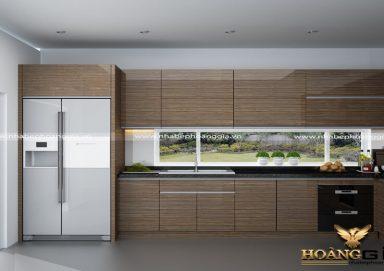 Mẫu tủ bếp Acrylic vân gỗ hiện đại