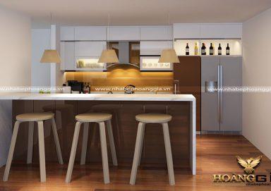 Mẫu tủ bếp đẹp chất liệu gỗ Acrylic hiện đại