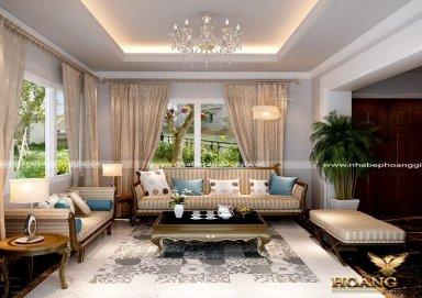 Mẫu thiết kế phòng khách đẹp tân cổ điển PKTCD09