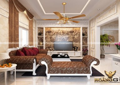 Mẫu thiết kế phòng khách phong cách tân cổ điển nhà anh Cường Hải Dương PKTCD11