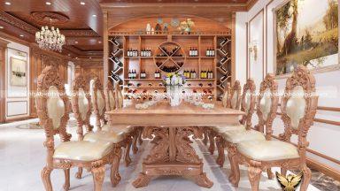Tư vấn thiết kế mẫu bàn ăn gỗ gõ đỏ 10 ghế sang trọng