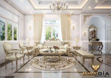 Phòng khách cho biệt thự phong cách cổ điển Châu Âu PKBT 12