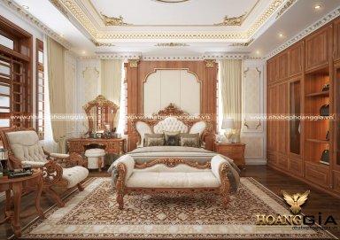 Mẫu thiết kế phòng ngủ đẹp phong cách tân cổ điển gỗ gõ tự nhiên