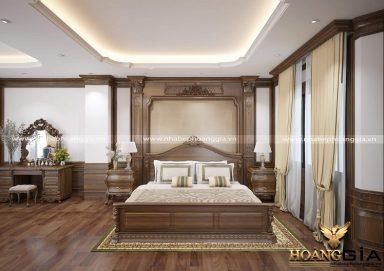 Nội thất phòng ngủ gỗ tự nhiên theo phong cách tân cổ điển sang trọng
