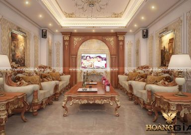 Nội thất phòng khách gỗ tự nhiên dát vàng cho biệt thự