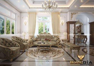 Mẫu thiết kế phòng khách biệt thự cổ điển Châu Âu sang trọng