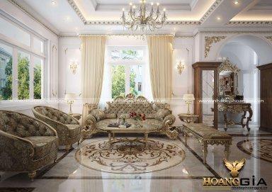 Mẫu thiết kế phòng khách cho biệt thự, lâu đài cổ điển Châu Âu sang trọng
