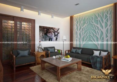 Mẫu phòng khách sang trọng ấm cúng với gỗ óc chó hiện đại PKHD10