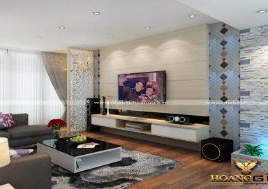 Mẫu thiết kế phòng khách gỗ Acrylic hiện đại chung cư Gamuda
