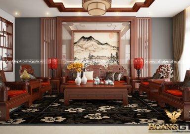Phòng khách phong cách hiện đại gỗ tự nhiên sơn PU