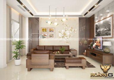 Phòng khách gỗ óc chó cao cấp cho biệt thự, chung cư cao cấp, phong cách hiện đại