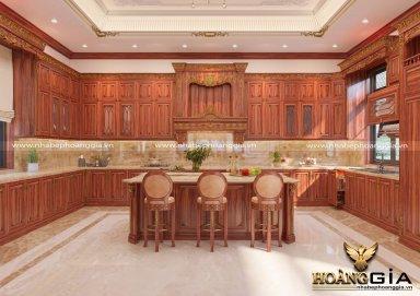 Mẫu tủ bếp sang trọng đầy đẳng cấp với chất liệu gỗ cẩm