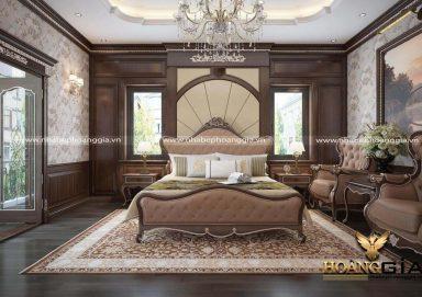 Mẫu thiết kế phòng ngủ tân cổ điển gỗ gõ sang trọng cho biệt thự